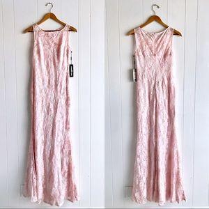 NWT Karl Lagerfeld Paris Pink Lace Maxi Dress Gown